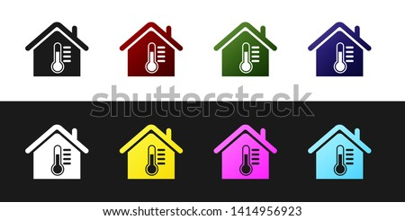 ae77a4987a3d Set House temperature icon isolated on black and white background.  Thermometer icon. Vector Illustration