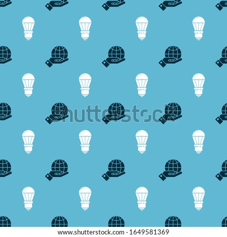 Set Human hands holding Earth globe and LED light bulb on seamless pattern. Vector