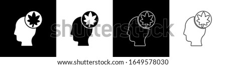 Set Human head with leaf icon isolated on black and white background.  Vector Illustration