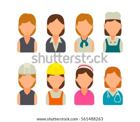Set icon character cook, builder, business and medical woman. Vector flat illustration on white background.
