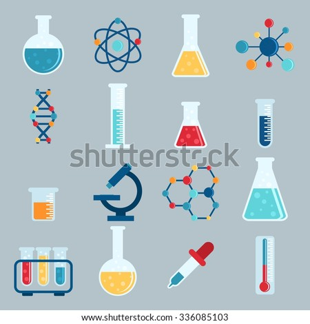 set icon chemicals  chemistry