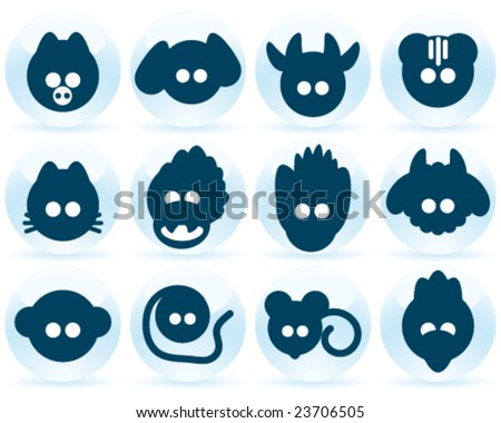 set icon chinese horoscope