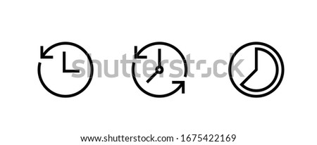 Set icon Clock. Symbol Countdown, Time Lapse, Circular Time on white background. Recent event history. Editable Vector Outline.