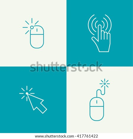 Set icon Computer mouse pointer to click. outline.