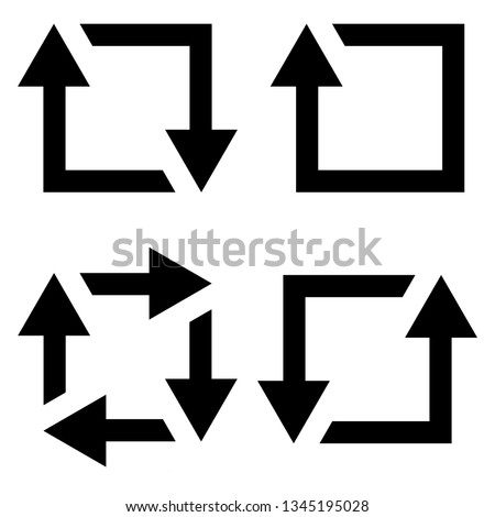 set icon repost recycling, vector contours of a square with an arrow sign symbol repost resend, recycling