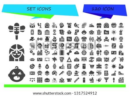 set icon set. 120 filled set icons.  Collection Of - Dragonfly, Baby, Girl, Drum, Amusement park, Clocks, Bike, Mind, Koala, Bird, Fabric, Taco, House, Clock, Printer, Waitress