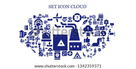 set icon set. 93 filled set icons.  Collection Of - Factory, Avatar, Money, Plane, Reporter, Help, Graph, Tent, Map, Smartphone, Mailbox, Refrigerator, Virus, 3d printing scanner