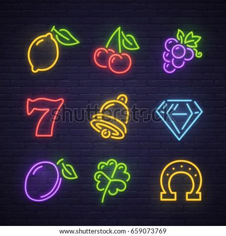 Set icon slot machine neon sign, bright signboard, light banner. Casino logo, emblem