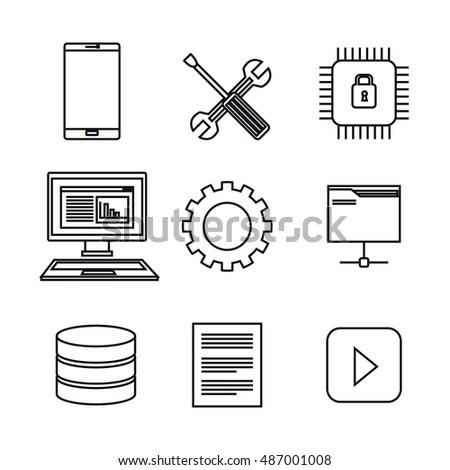 set icons database center server isolated Zdjęcia stock ©