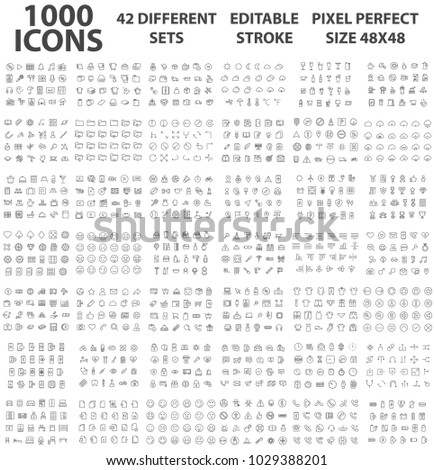 set 1000 icons different theme