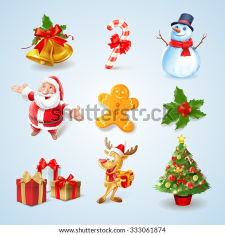 set icons for christmas toon