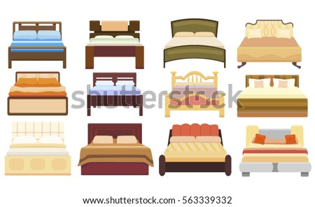 set icons furniture double bed