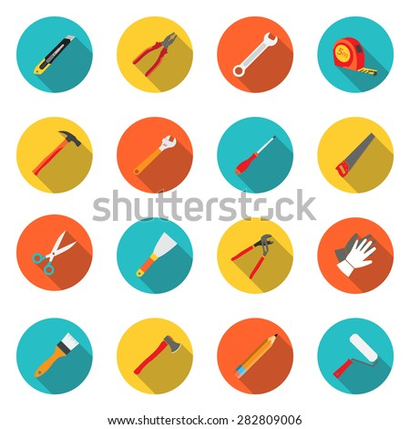 Set icons hand tools flat style: screwdriver, wrench, pliers, trowel,spanner,  stationery knife, putty knife, scissors, gloves, paint roller, paint brush, saw, axe, tape measure, hammer