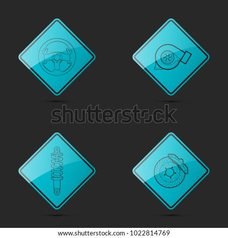 Set icons image auto parts. Symbols car part: turbine, steering wheel, strut, brake disc support. Car service pictures. Logo car garage. Vehicle spare parts. Set automotive. Turbo Car repair service
