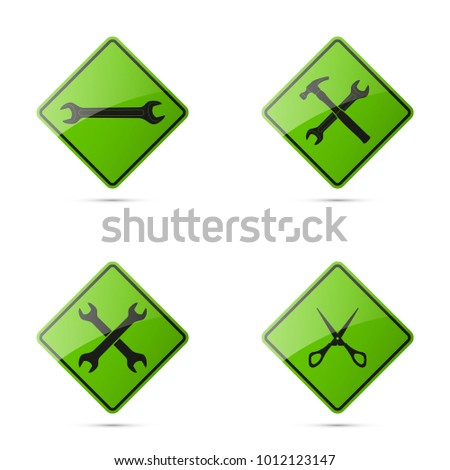 Set icons image of tools wrench parts. Symbols car part tools spanner for repair. Car service spanner pictures. Logo hammer garage. Vehicle spare parts. Set tailor scissors. Car wrench repair service