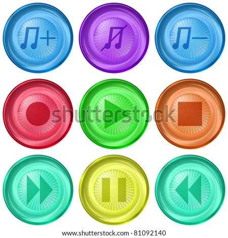 Set icons, media player playback isolated buttons, vector