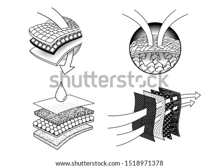 Set icons Number 2 of absorbent sheets and diapers. advertising layered materials, fabric layers, napkin, sanitary pad, mattresses and adults.