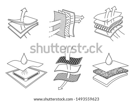 Set icons of absorbent sheets and diapers. advertising layered materials, fabric layers, napkin, sanitary pad,  mattresses and adults. Vector eps10.