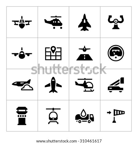 set icons of aviation isolated