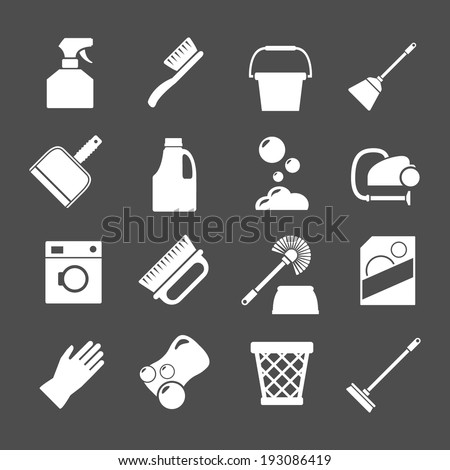 Set icons of cleaning isolated on grey Vector illustration