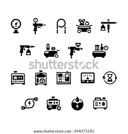 set icons of electric generator