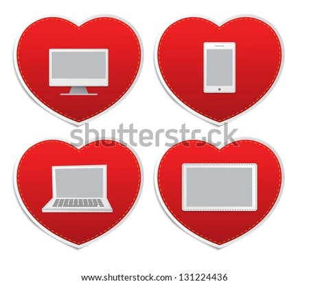 Set icons of Love in red hearts signs, vector