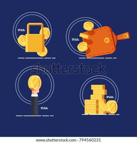 Set icons of money savings both financial attachment and investment, payment and means of payment, purse with money and gold coins, the lock, a hand holds a coin flat vector illustration