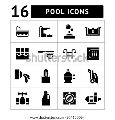 Set icons of pool isolated on white. Vector illustration