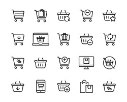 Set icons of shopping baskets and carts Collection of icons for the store such as carts and shopping baskets mobile and online store etc Editable vector stroke 96x96 Pixel Perfect.
