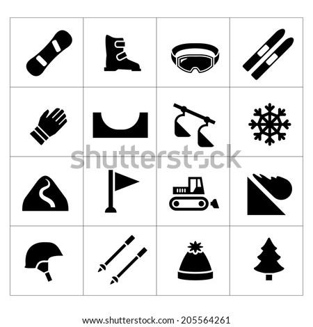 set icons of skiing and