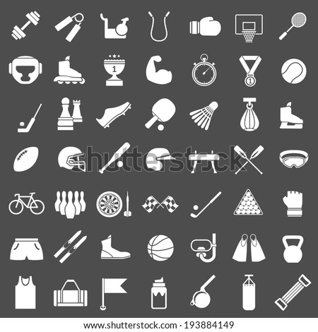 Set icons of sports and fitness equipment isolated on grey. Vector illustration