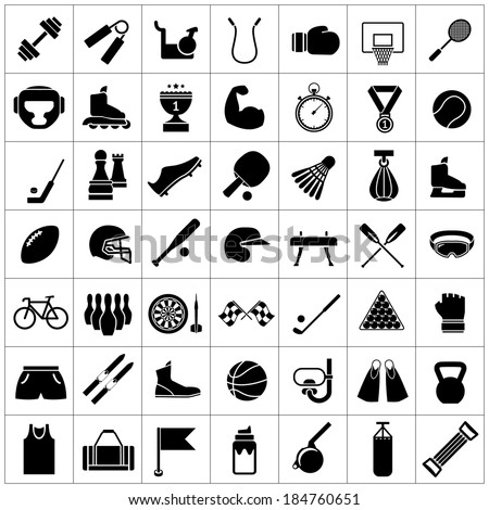 Set icons of sports and fitness equipment isolated on white Vector illustration