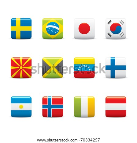 Set Icons of Square world flags on white background - stock vector