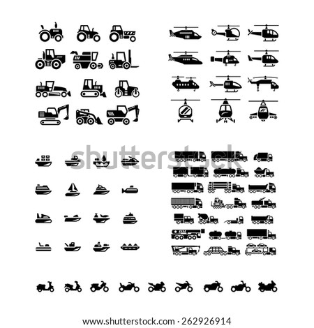 set icons of transport