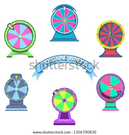 Set icons of wheels of fortune for betting site or gambling roulette with arrows for internet casino. Games with arrow, lucky winner or bankrupt in fortunate illustration, isolated on white background