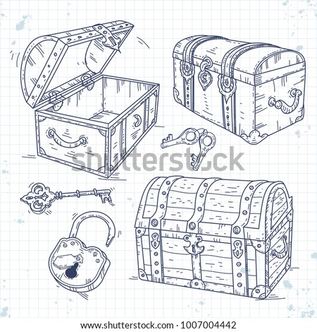 set icons old pirate chests with lock and keys