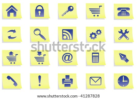 Set icons on yellow stickers. All icons organized in groups for usability.