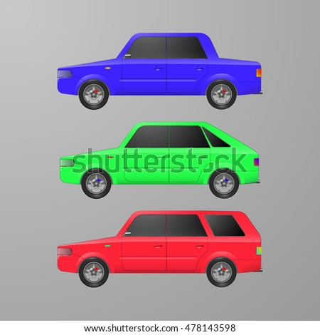 set icons passenger cars with