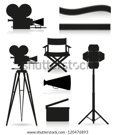 set icons silhouette cinematography cinema and movie vector illustration isolated on white background