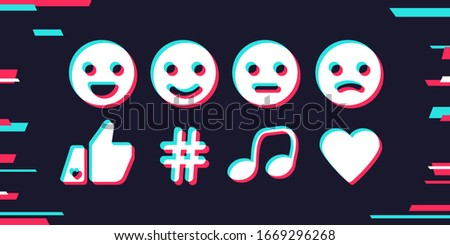 Set icons: smile, hand, hashtag, note, heart. Motion design background. Social media concept. Vector illustration. EPS 10
