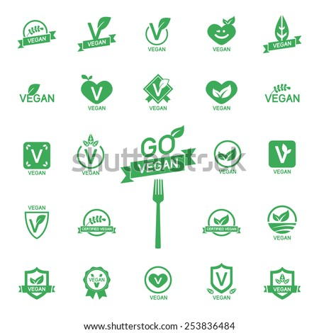 Set 24 Icons Vegan food, set of badges, emblems and stamps vector