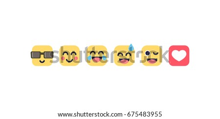 Set if some flat emoji for social media. Chat faces isolated vector illustration - Shutterstock ID 675483955