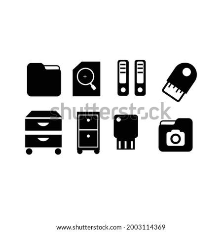 Set ikon hitam terisolasi vektor - vektor pengikat kantor, pencarian dokumen, tanda terima, folder, galeri foto, baki kertas, kotak arsip, flash usb