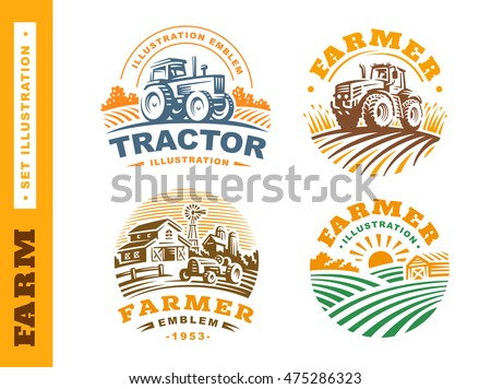 set illustration farm logo on