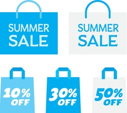 Set illustration of the light blue paper bag of the summer sale