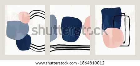 Set 3 illustration vector EPS 10 print hand draw painted abstract shapes geometry contemporary aesthetic mid century Scandinavian nordic design style