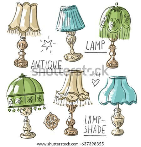 Set illustration with antique lamps and lettering