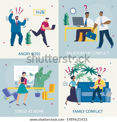 Set Informative Poster Angry Boss Lettering Flat. Banner is Written Stress at Work, Family Conflict, Relationship Conflict. Incentive for Employees to Work Efficiently. Vector Illustration.