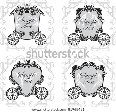 set invitation design with fairytale carriage