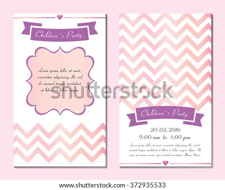 Set invitation for Children's day. Cards, templates, layouts for parties, children's holiday, birthday. Illustration vector. Isolated